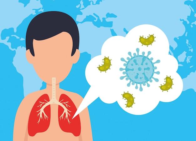 Mann mit covid 19 krankheit mikroorganismen Kostenlosen Vektoren