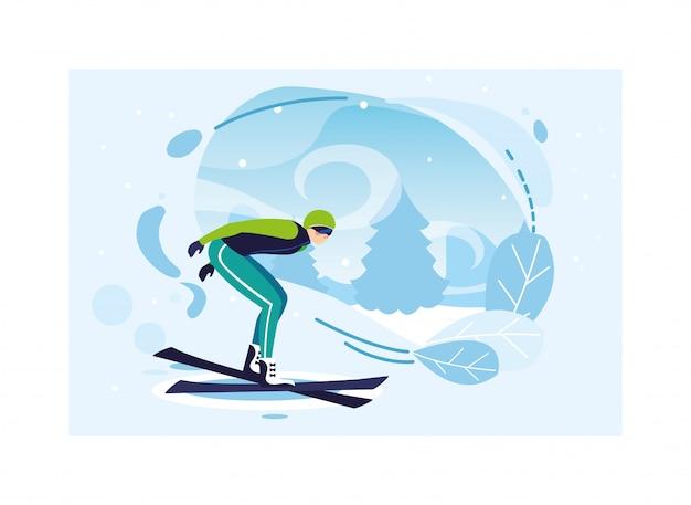 Mann mit gebirgsski in der landschaft des winters Premium Vektoren