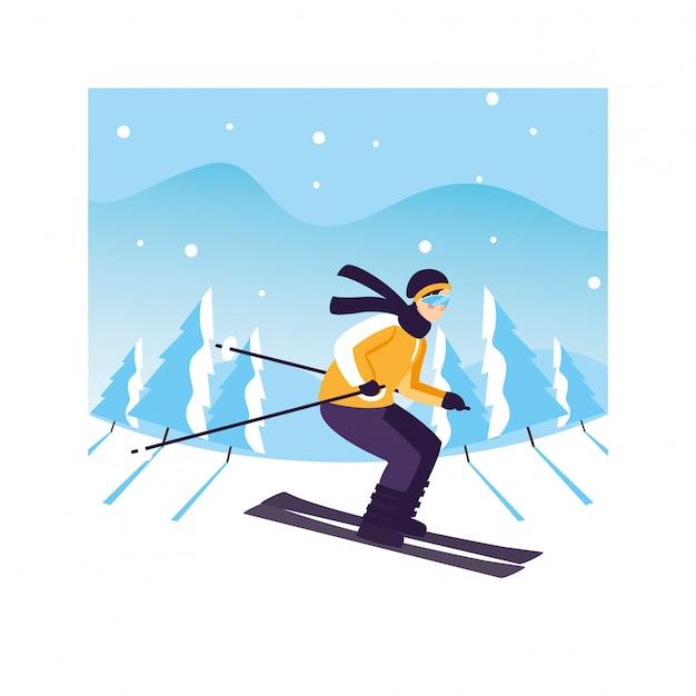 Mann mit gebirgsski in der landschaft mit schneefällen Premium Vektoren