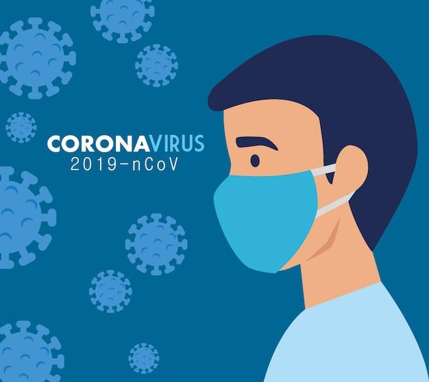 Mann mit gesichtsmaske für coronavirus 2019 ncov Kostenlosen Vektoren