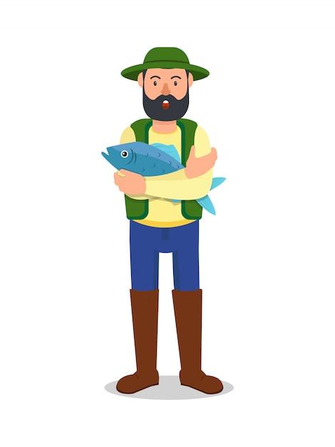 Mann mit großen blauen fischen in der hand Premium Vektoren