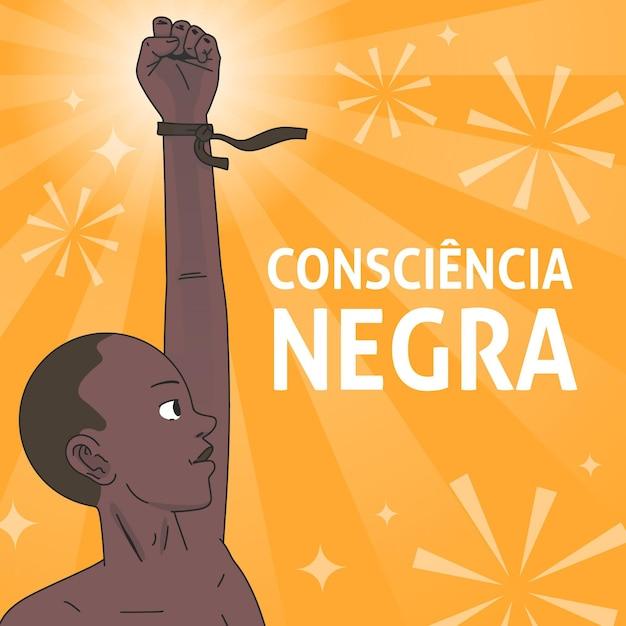 Mann mit hand in der luft schwarz bewusstseinstag Premium Vektoren