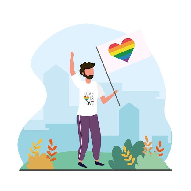 Mann mit herzregenbogenflagge zur lgtb feier Premium Vektoren