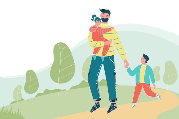 Mann mit kindern, die im park mit einem platz für ihren text gehen. glücklicher vater mit kindern, die spaß zusammen haben. Premium Vektoren