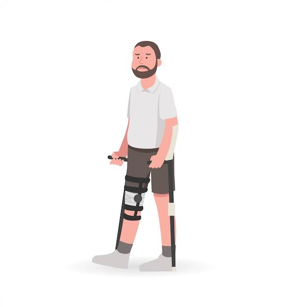 Mann mit knieverletzung während der rehabilitation Premium Vektoren