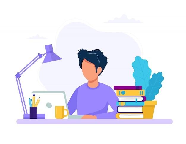 Mann mit laptop, ausbildung oder arbeitskonzept Premium Vektoren