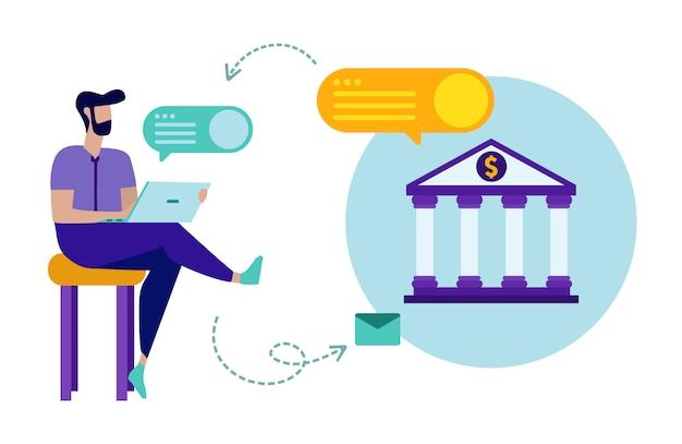 Mann mit laptop kommuniziert mit bank online. Premium Vektoren