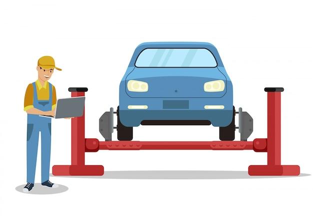 Mann mit laptop nahe auto auf überführung Premium Vektoren