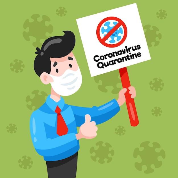 Mann mit maske und coronavirus-quarantäneschild Kostenlosen Vektoren