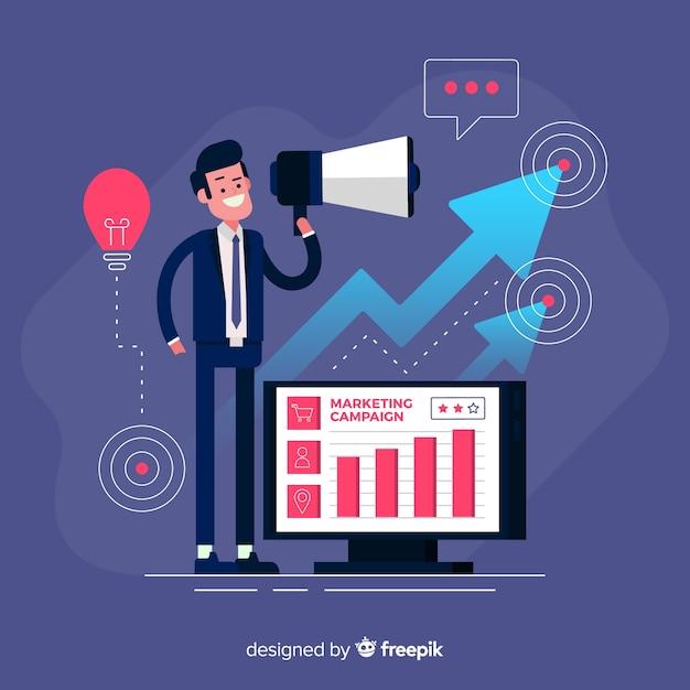 Mann mit megaphon-marketingkampagnenhintergrund Kostenlosen Vektoren