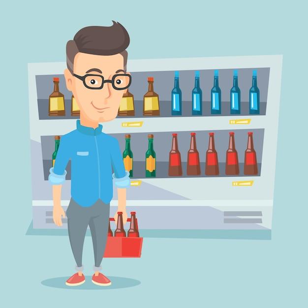 Mann mit packung bier im supermarkt. Premium Vektoren