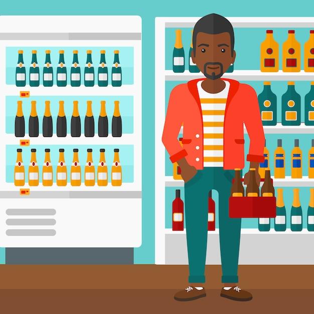 Mann mit packung bier Premium Vektoren