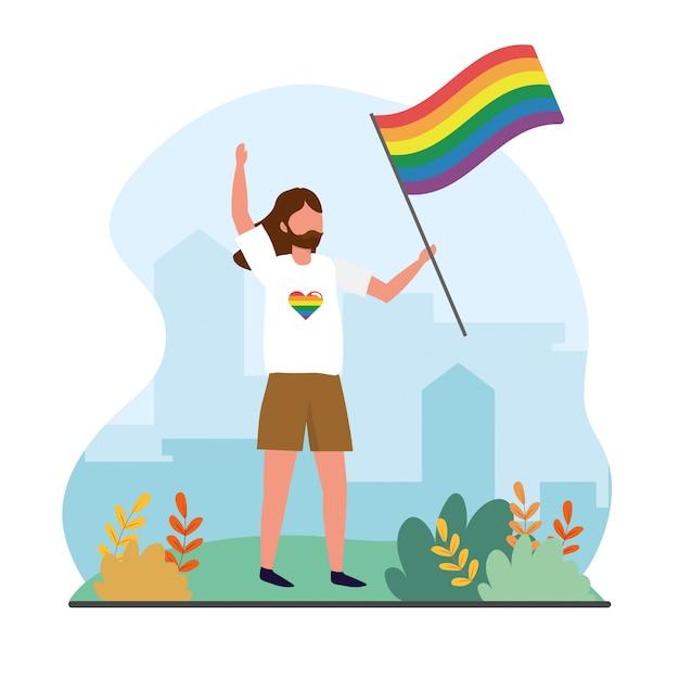 Mann mit regenbogenfahne zur lgbt freiheit Premium Vektoren