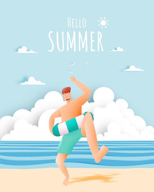 Mann mit schwimmenring mit schöner strand- und himmelillustration Premium Vektoren