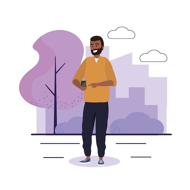 Mann mit smartphone-kommunikation und freizeitkleidung Premium Vektoren