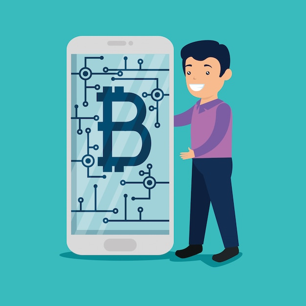 Mann mit smartphone mit digitaler bitcoin-währung Kostenlosen Vektoren