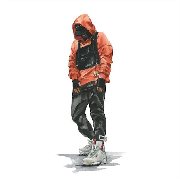 Mann mit techwear-outfit isoliert auf weiß Premium Vektoren