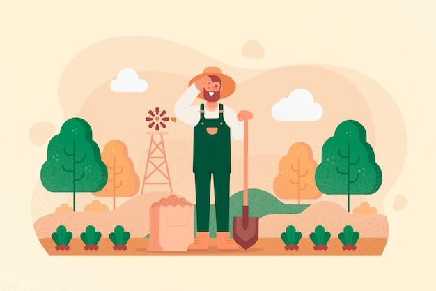 Mann organische landwirtschaftskonzeptillustration Kostenlosen Vektoren