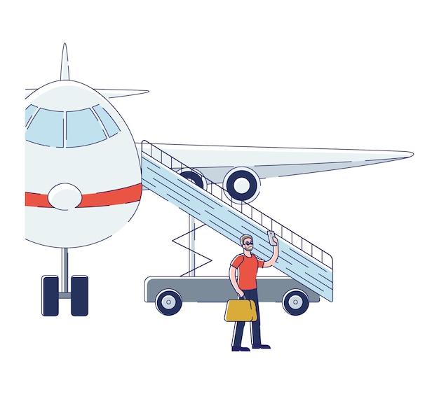 Mann passagier, der selfie beim einsteigen in flugzeug nimmt Premium Vektoren