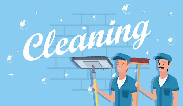 Mann reinigungsmittel und zubehör Premium Vektoren