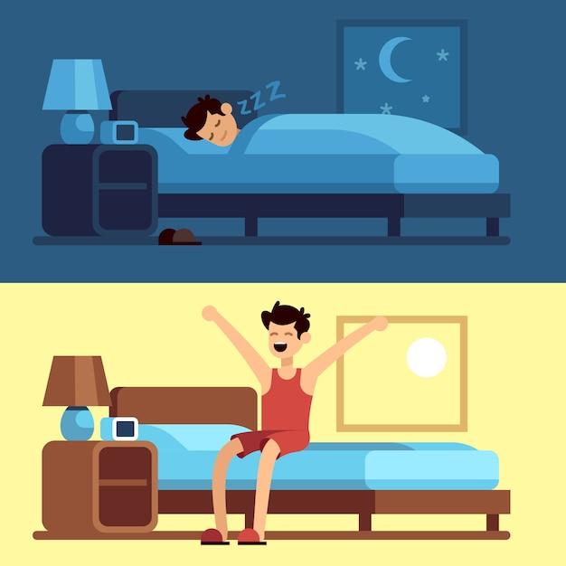 Mann schläft beim aufwachen. person unter bettdecke nachts und morgens aus dem bett aufstehen. schlafen sie ruhig in einer bequemen matratze Premium Vektoren