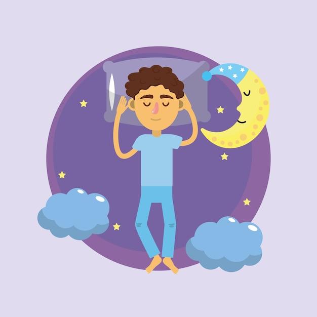 Mann schläft und gute nacht Premium Vektoren