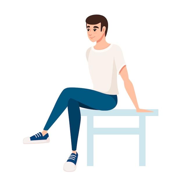 Mann sitzen auf weißer stuhlillustration Premium Vektoren