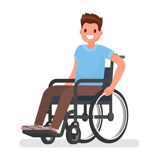Mann sitzt in einem rollstuhl auf einem weißen hintergrund Premium Vektoren