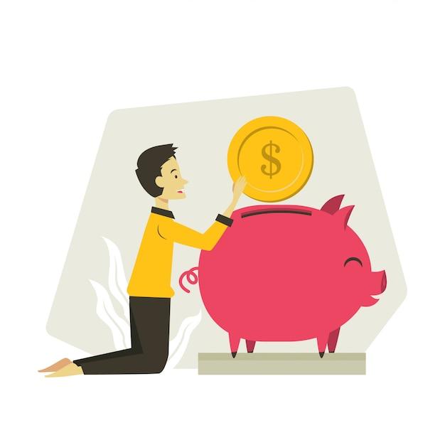 Mann spart geld illustration Premium Vektoren