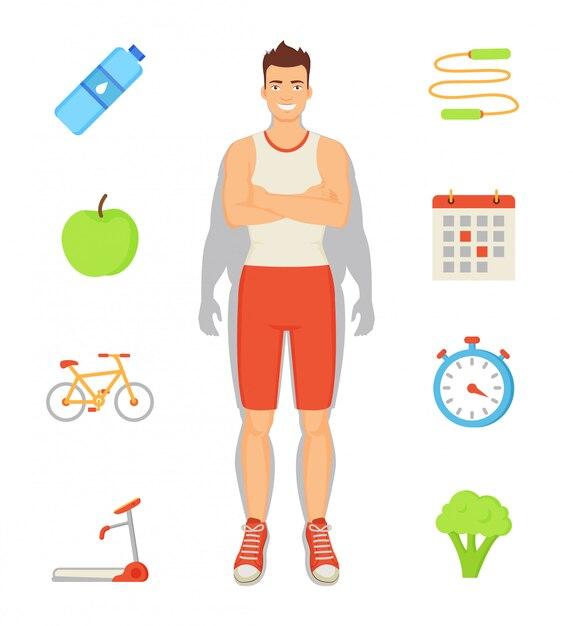 Mann-sportive tätigkeiten stellten illustration ein Premium Vektoren