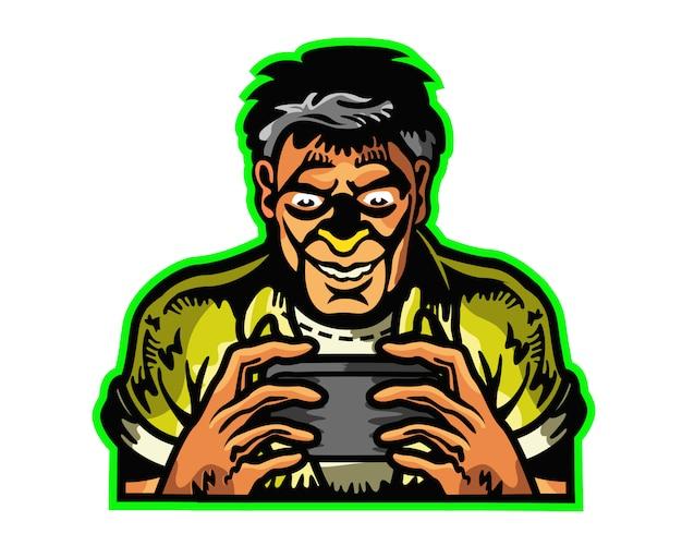 Mann süchtig nach mobile game cartoon maskottchen logo badge Premium Vektoren