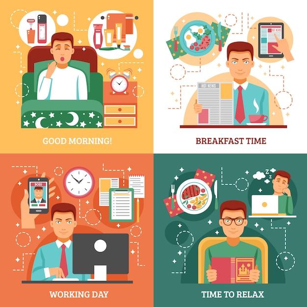 Mann-tägliche routinekonzeption Kostenlosen Vektoren