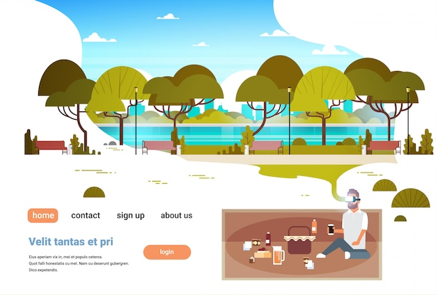 Mann tragen digitale brille mit picknick in der stadt stadtpark virtual reality vr vision headset innovationskonzept Premium Vektoren