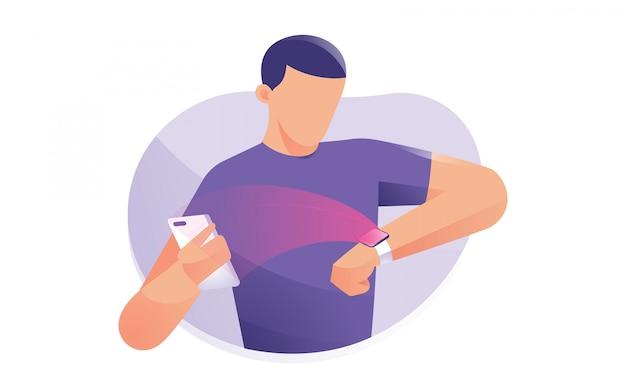 Mann tragen uhren, die mit ihren mobilen geräten verbunden sind Premium Vektoren