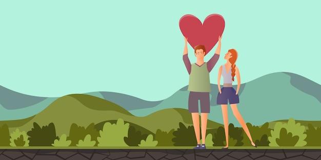 Mann und frau an einem romantischen datum in berglandschaft Premium Vektoren