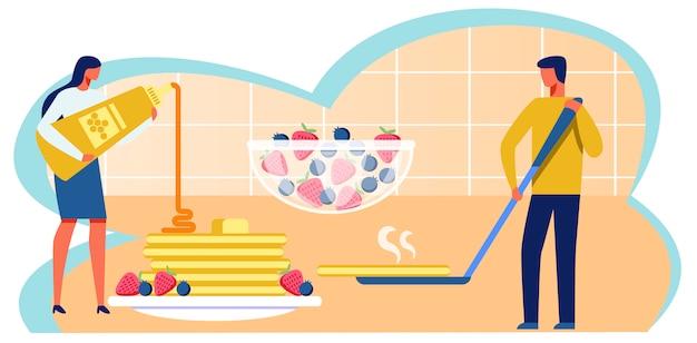 Mann und frau, die pfannkuchen-metapher-karikatur kochen Premium Vektoren