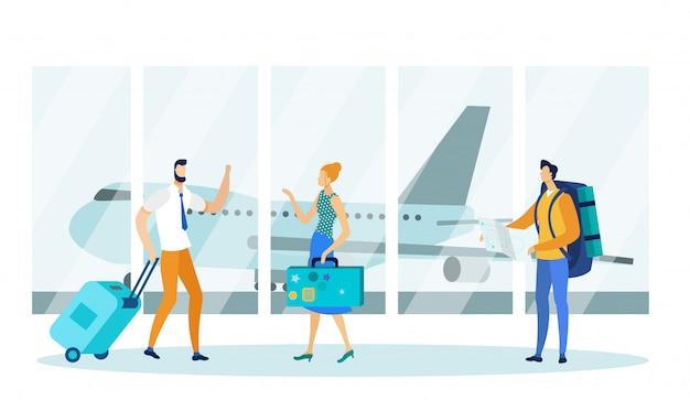 Mann und frau, die start im flughafenabfertigungsgebäude warten. Premium Vektoren