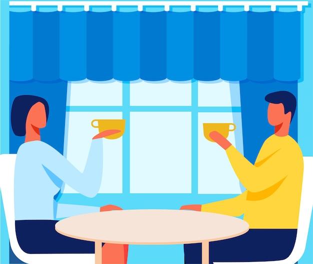 Mann und frau im café auf romantischer datums-karikatur Premium Vektoren