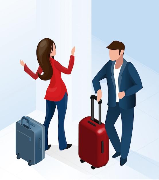 Mann und frau in der hotelhalle mit gepäckkoffer Premium Vektoren