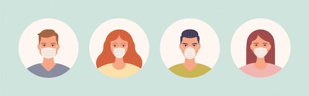 Mann und frau in der medizinischen gesichtsschutzmaske. menschen avatare Premium Vektoren
