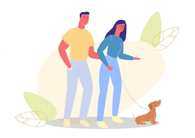 Mann und frau in gläsern gehen auf straße mit hund. Premium Vektoren