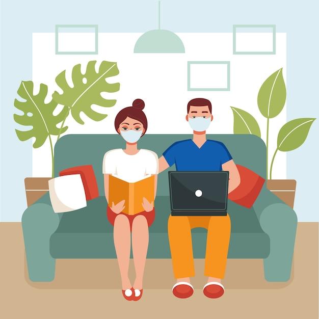 Mann und frau in masken sitzen auf einer couch Premium Vektoren