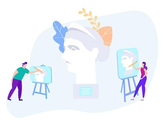 Mann und frau malen auf staffelei statue Premium Vektoren