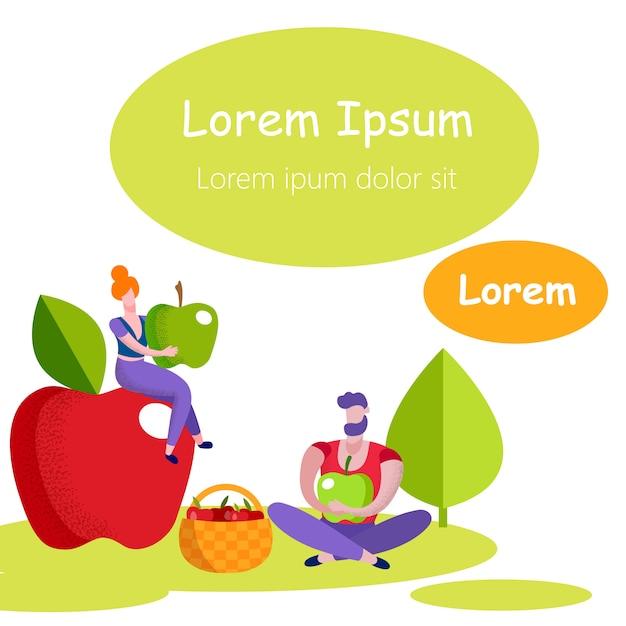 Mann und frau mit grünen äpfeln in den händen. . Premium Vektoren