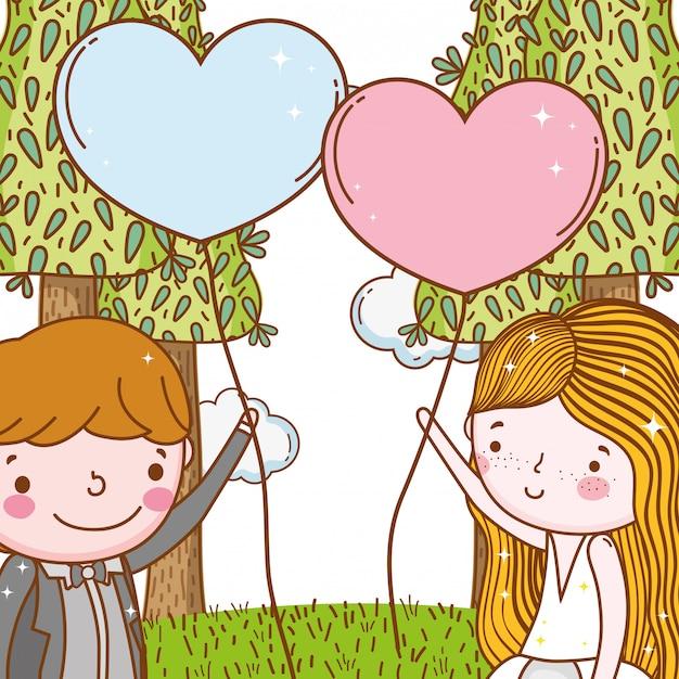 Mann und frau mit herzballons und -bäumen Premium Vektoren