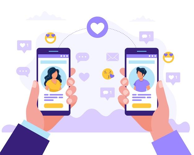Mann und frau mit smartphones miteinander profil Premium Vektoren