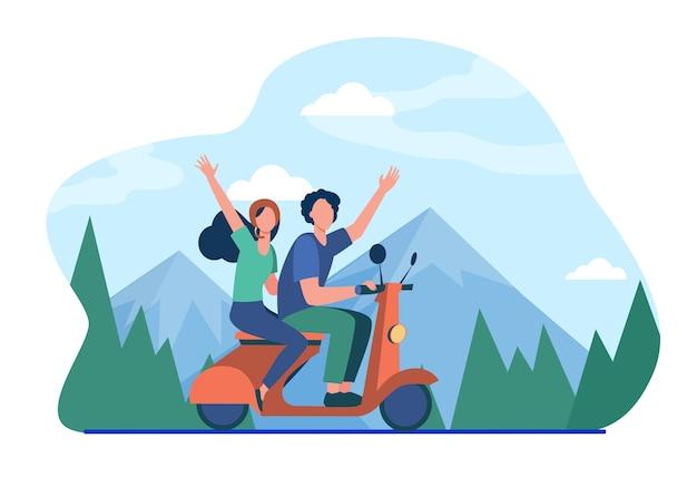 Mann und frau reiten moped in den bergen. Kostenlosen Vektoren