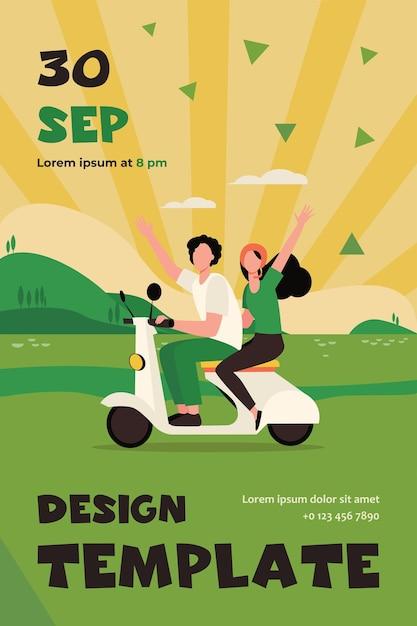 Mann und frau reiten moped nahe fluss. reise, natur. flat flyer vorlage Kostenlosen Vektoren