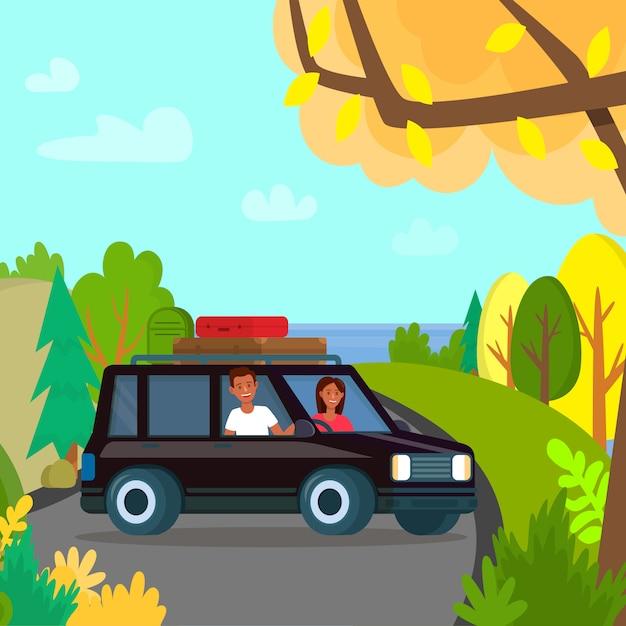 Mann und frau stehen schwarz auto auf top mountain Premium Vektoren