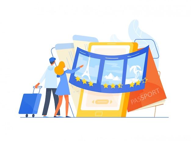 Mann und frau touristen stehen vor riesigen smartphone und wählen reise oder reiseziel für ihren urlaub, orte zu besuchen. reise- oder touristenservice. flache illustration. Premium Vektoren